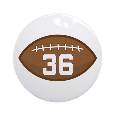 Football Player Number 36 Ornament  Round  By