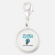 Shine a light on Autism Silver Round Charm