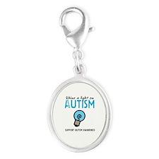 Shine a light on Autism Silver Oval Charm
