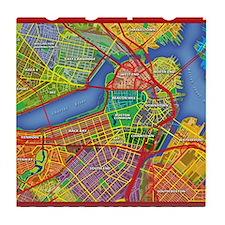 Boston Massachusetts Map Tile Coaster