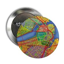 "Boston Massachusetts Map 2.25"" Button"