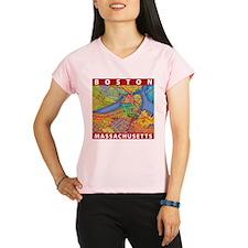 Boston Massachusetts Map Peformance Dry T-Shirt
