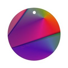Origami Rainbow Abstract Fractal Ornament (Round)