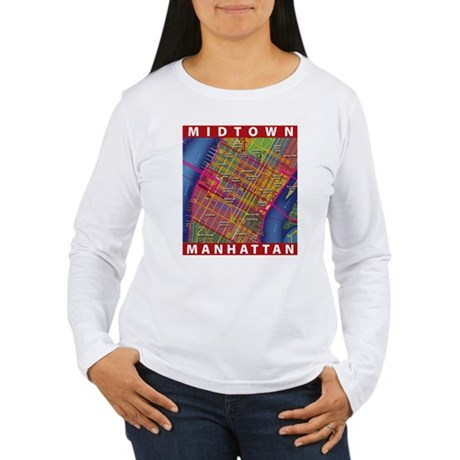 Midtown Manhattan Map Long Sleeve T-Shirt