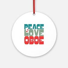 Peace Love Oboe Ornament (Round)