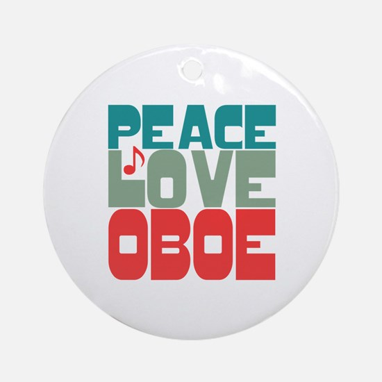 Peace Love Oboe Ornament (Round)