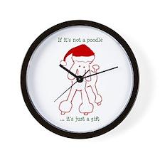 Holiday Poodle Dog Wall Clock
