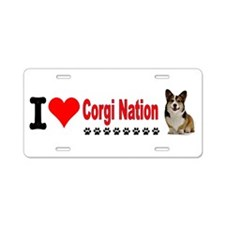 I Love Corgi Nation Aluminum License Plate
