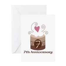 7th Anniversary Cake Greeting Card