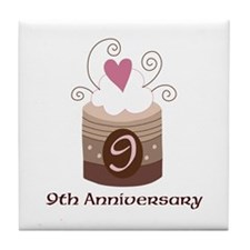 9th Anniversary Cake Tile Coaster