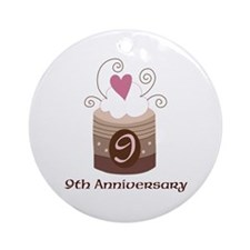9th Anniversary Cake Ornament (Round)