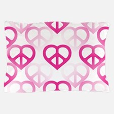 Pink Peace Hearts Pillow Case