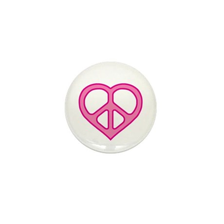 Pink Peace Heart Mini Button