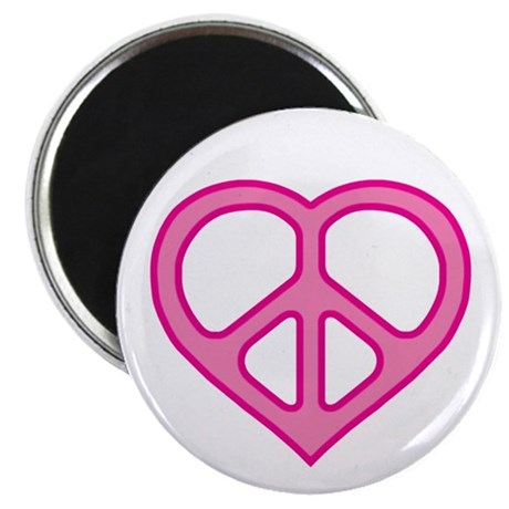 Pink Peace Heart Magnet