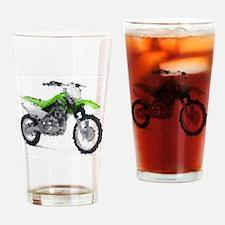 Green dirt bike Drinking Glass