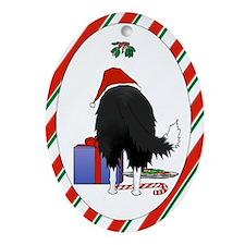 Border Collie Christmas Oval Ornament