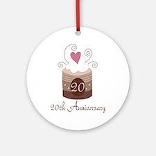 20th Anniversary Cake Ornament (Round)