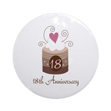 18th Anniversary Cake Ornament (Round)