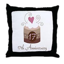 17th Anniversary Cake Throw Pillow