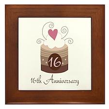 16th Anniversary Cake Framed Tile