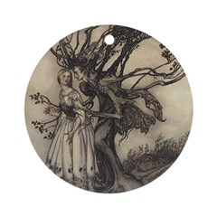 Rackham's Old Woman in Wood Ornament (Round)