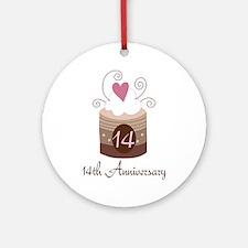 14th Anniversary Cake Ornament (Round)