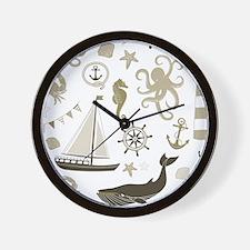 Beige Ocean Wall Clock