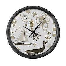 Beige Ocean Large Wall Clock