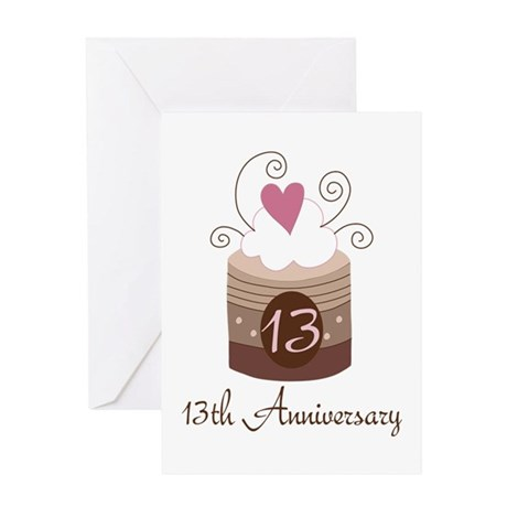 13th Anniversary Cake Greeting Card