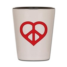 Red Peace Heart Shot Glass