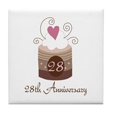 28th Anniversary Cake Tile Coaster