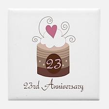 23rd Anniversary Cake Tile Coaster