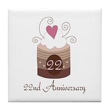 22nd Anniversary Cake Tile Coaster