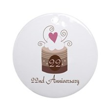 22nd Anniversary Cake Ornament (Round)
