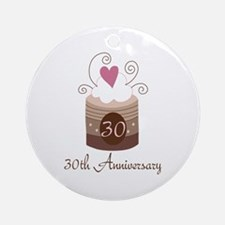 30th Anniversary Cake Ornament (Round)