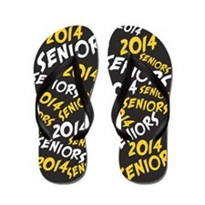 Black Yellow White Senior Class OF 2014 Flip Flops