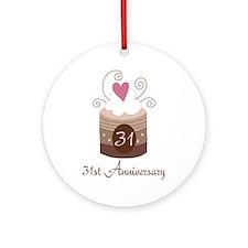 31st Anniversary Cake Ornament (Round)