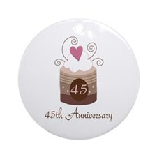 45th Anniversary Cake Ornament (Round)