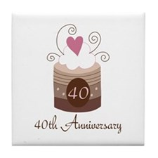 40th Anniversary Cake Tile Coaster