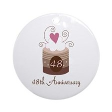 48th Anniversary Cake Ornament (Round)