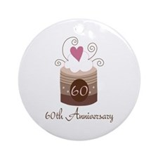 60th Anniversary Cake Ornament (Round)