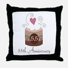 55th Anniversary Cake Throw Pillow