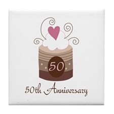 50th Anniversary Cake Tile Coaster