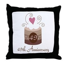 49th Anniversary Cake Throw Pillow