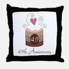 49th Anniversary Cake Throw Pillow