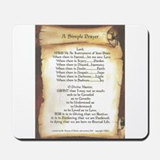 Pope Francis St. Francis SIMPLE PRAYER-Scroll Mous