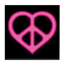 Pink Peace Heart Black Coaster