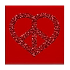 Red Peace Heart Drink Coaster