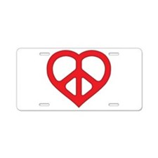 Red Peace Heart Aluminum License Plate