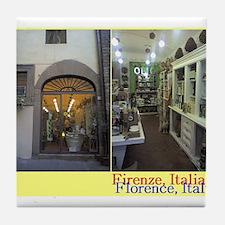 shop in Florence, Italia Tile Coaster